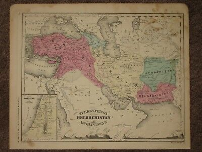 1860 PALESTINE TURKEY PERSIA AFGHANISTAN ANTIQUE MAP McNally GEOGRAPHY Atlas
