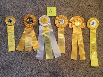Lot of 6 Vintage Horse Show Ribbons Yellow-Birthday Party pack-DERBY Party-LOT A