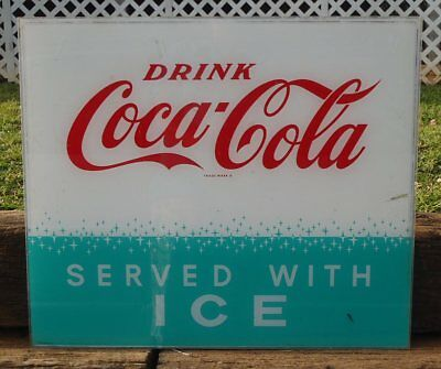 """Vintage Drink Coca-Cola SERVED WITH ICE Plexiglass Store Advertising 22.5"""" SIGN"""