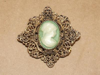 Vintage Art Nouveau Filigree Brass Cameo Pin Brooch or Pendant