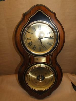 Vintage Bulova Quartz Wall Clock and Mechanical Barometer Made in France 23 1/2""