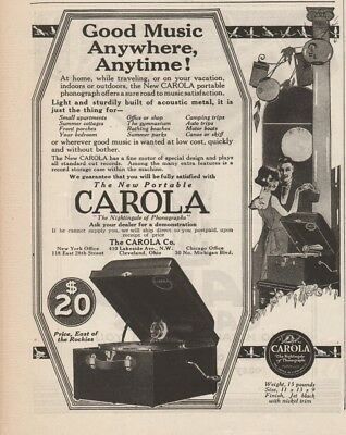 1923 Carola Portable Phonograph Cleveland Ohio OH antique record player ad