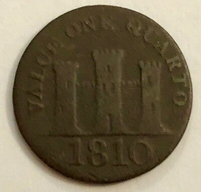 Gibraltar 1810 One Quarto Coin  -  Large Date  -  Near Fine