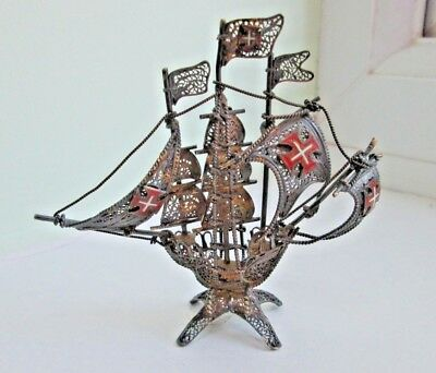 Antique Portuguese Silver Gilt Filigree Galleon Figure - Enamelled Flags