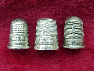 Three Sterling Silver Charles Horner Thimbles Chester 1914 And 1912 Size 6 10 11