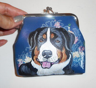 Greater Swiss Mountain dog Hand Painted Leather Coin Purse Vegan Mini wallet