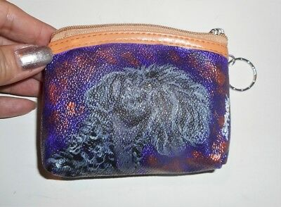 Kerry Blue Terrier dog Hand Painted Leather Coin Purse
