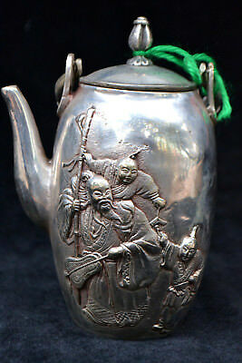 chinese Culture Style Old tibet silver handwork leaf figure rare antique Teapot