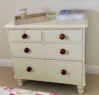 Nice Victorian Farrow And Ball Cream Painted Pine Chest Of Drawers
