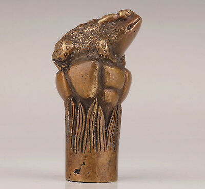 Bronze Toads Statue Cane Walking Stick Head Handle Custom Collection