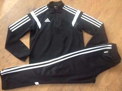 100%  Adidas Black White 3 Stripe Tracksuit/running/top/trousers Size 140 / 10Yr