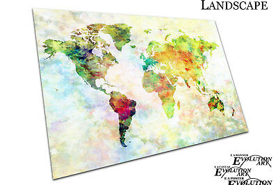 World map art watercolour Europe ASIA America AFRICA  Poster Print - X1076