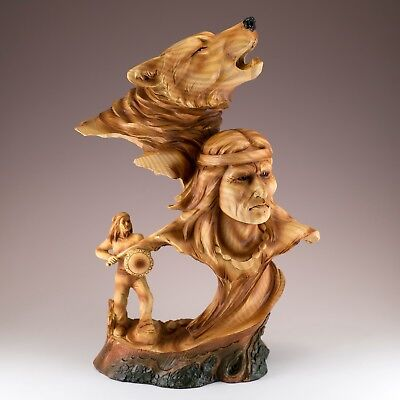 "Indian Warrior Wolf Bust Carved Wood Look Figurine Resin 12"" High New In Box"