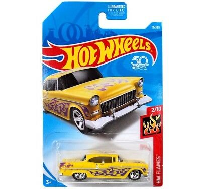 Hot Wheels 55 Chevy HW Flames 2//10 1:64 300//365 2018 mattel