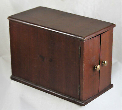 Small Antique Mahogany Two Door Microscope Slide Cabinet