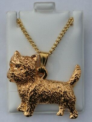 Cairn Terrier Dog 24K Gold Plated Pewter Pendant Chain Necklace Set