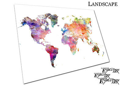 Watercolour map of the world Europe Asia America Africa Poster - X1622