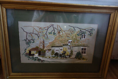 stunning vintage cottage embroidery 28x20 inches