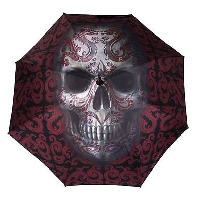 Anne Stokes Gothic Skull Oriental Dragon Long Handle Pop Umbrella Black Purple