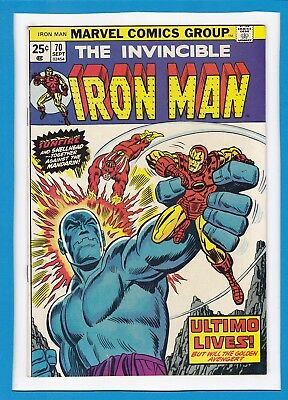 """Invincible Iron Man #70_September 1974_Very Fine_""""ultimo Lives""""_Bronze Age!"""