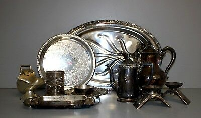 Set of (12) Silver Plated Trays/ Tea/Coffee Pots / Candle Stick Holders + 9lbs