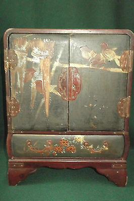 Antique Japanese/chinese Lacquered Jewellery Tansu Cabinet