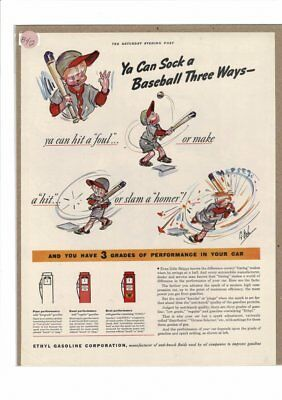 Vintage 1938 Ethyl Gasoline Texaco Baseball Boy Bat Whack 3 Hits Ad Print B412
