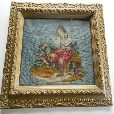 19th Century hand embroidered woolwork panel - boy  playing with his dog