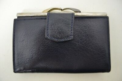 VINTAGE 1960s WOMENS DARK BLUE LEATHER PURSE WALLET ENGLISH MADE