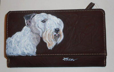 Sealyham Terrier dog Hand Painted Leather Wallet for Women