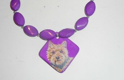 Norwich Terrier dog Beaded Necklace Hand Painted Ceramic Pendant