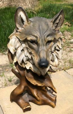 Carved Resin Wolf Head on Driftwood Branch Statue Sculpture Figure