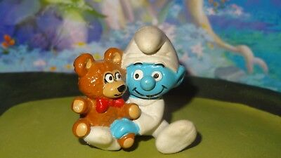 Smurfs Baby Smurf with Stuffed Teddy Bear 20205 Rare Vintage Macau Schtroumpf