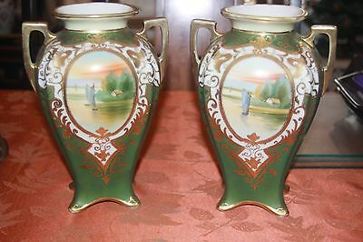 NIPPON Vintage Japanese Porcelain PAIR (2) of Scenic Vases Hand Painted Moriage