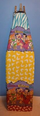 VINTAGE FOLDING WOOD IRONING BOARD with FLINTSTONES COVER