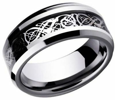 Celtic Knot Black Dragon Silver Ring Size 6 TITANIUM Solid Band USA SELLER
