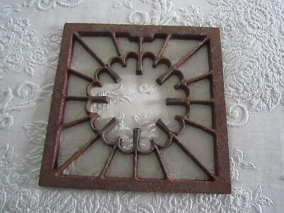 "Vintage Decorative Cast Iron HEAT GRATE VENT REGISTER 9"" x 9"" Opening VGUC"