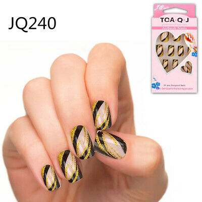 24pcs/Set French Acrylic Fake Fingernails Full Cover Fake False Nail Art Tip DIY