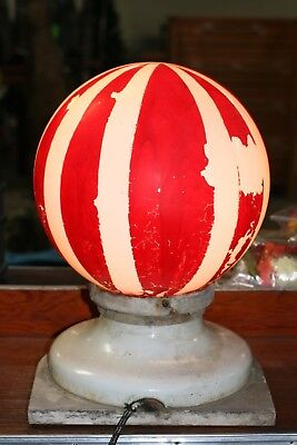 Antique Large Barber Pole Light / Topper Red & White