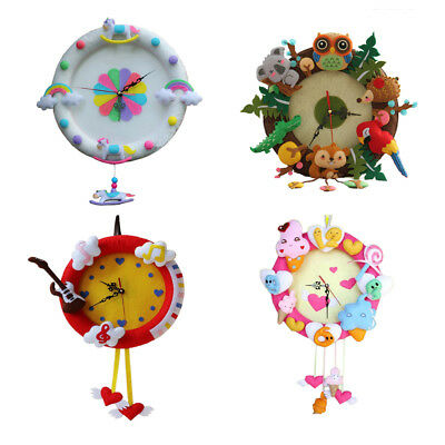 Clock Toy DIY Craft Sewing Felt Applique Kit For Kids Girls Felt Fabric Crafts