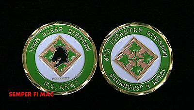 4Th Infantry Challenge Coin Iron Horse Division Steadfast & Loyal Us Army Usa!!