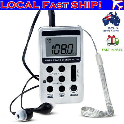 Mini Radio Pocket Receiver Portable FM/AM 2 Band Digital LCD Stereo Earphone Set