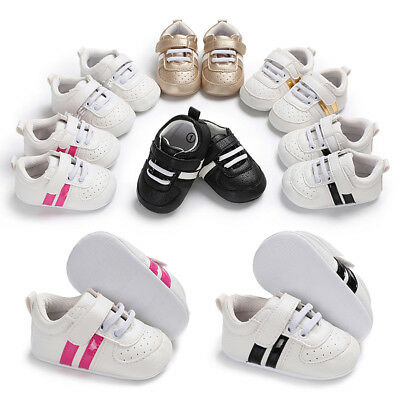 Newborn Toddler Baby Boy Girl Kid Soft Sole Crib Shoes Leather Sneaker Prewalker