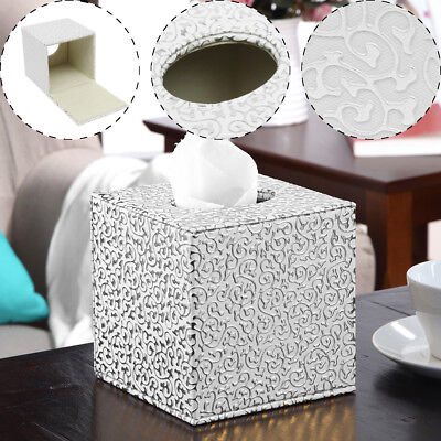 Silver Square PU Leather Tissue Box Toilet Holder Cover Paper Case Home Office