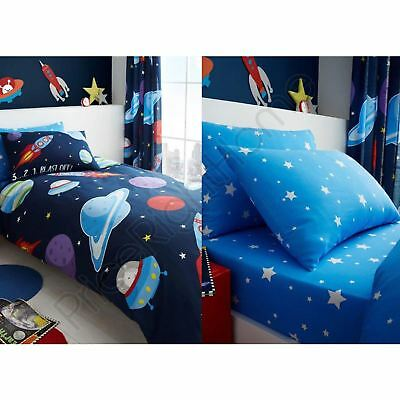 Outer Space Stars Boys Single Duvet Cover + Fitted Sheet + Pillowcases - 4 In 1