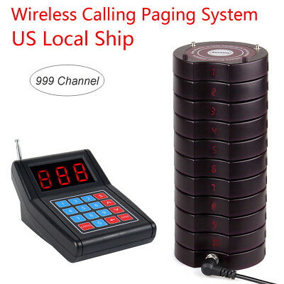 Restaurant Wireless call Paging Queuing System 1*Transmitter&10*Coaster Pager US