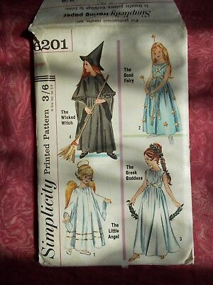 Simplicity Girl's Fancy Dress Sewing Pattern Ages 4-6 From 1965 (6201) Witch Etc