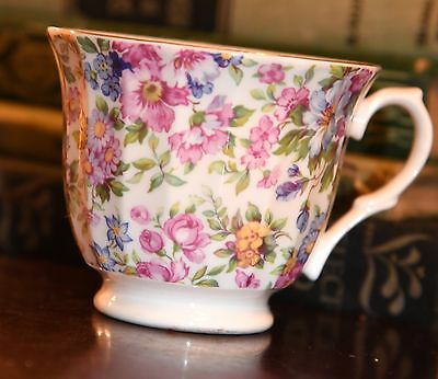 """CROWN TRENT DERBY CHINA CHINTZ TEACUP ENGLAND ROSES 3.5""""W x 2.75"""" H PORCELAIN"""