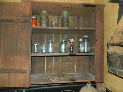 Primitive Farm House Wood Jelly Cupboard Cabinet Pantry Kitchen Red/salmon