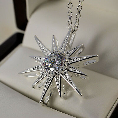"925 Stamped Sterling Silver Plt Clear CZ Star Pendant 18"" Chain Necklace 215"